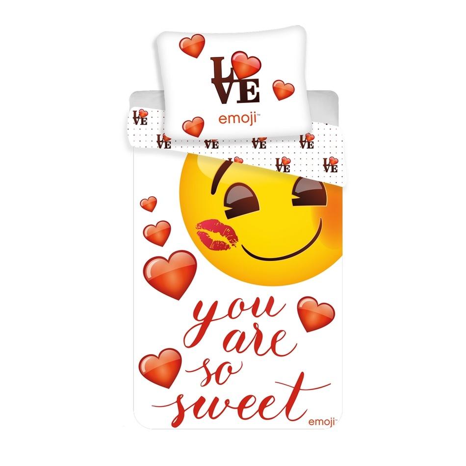 Jerry Fabrics Dětské bavlněné povlečení Emoji You are so sweet, 140 x 200 cm, 70 x 90 cm
