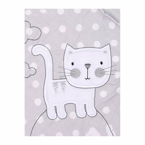 Belisima Dziecięcy becik wyszywany Kotek, biały, 75 x 75 cm