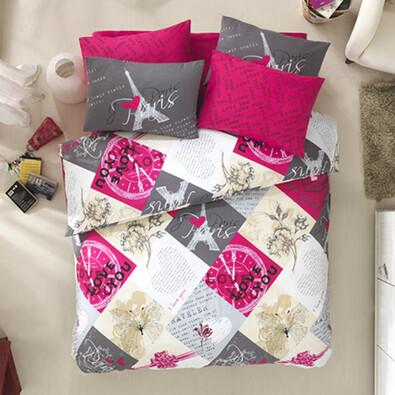 Bavlněné povlečení Parisienne růžová, 140 x 200 cm, 70 x 90 cm