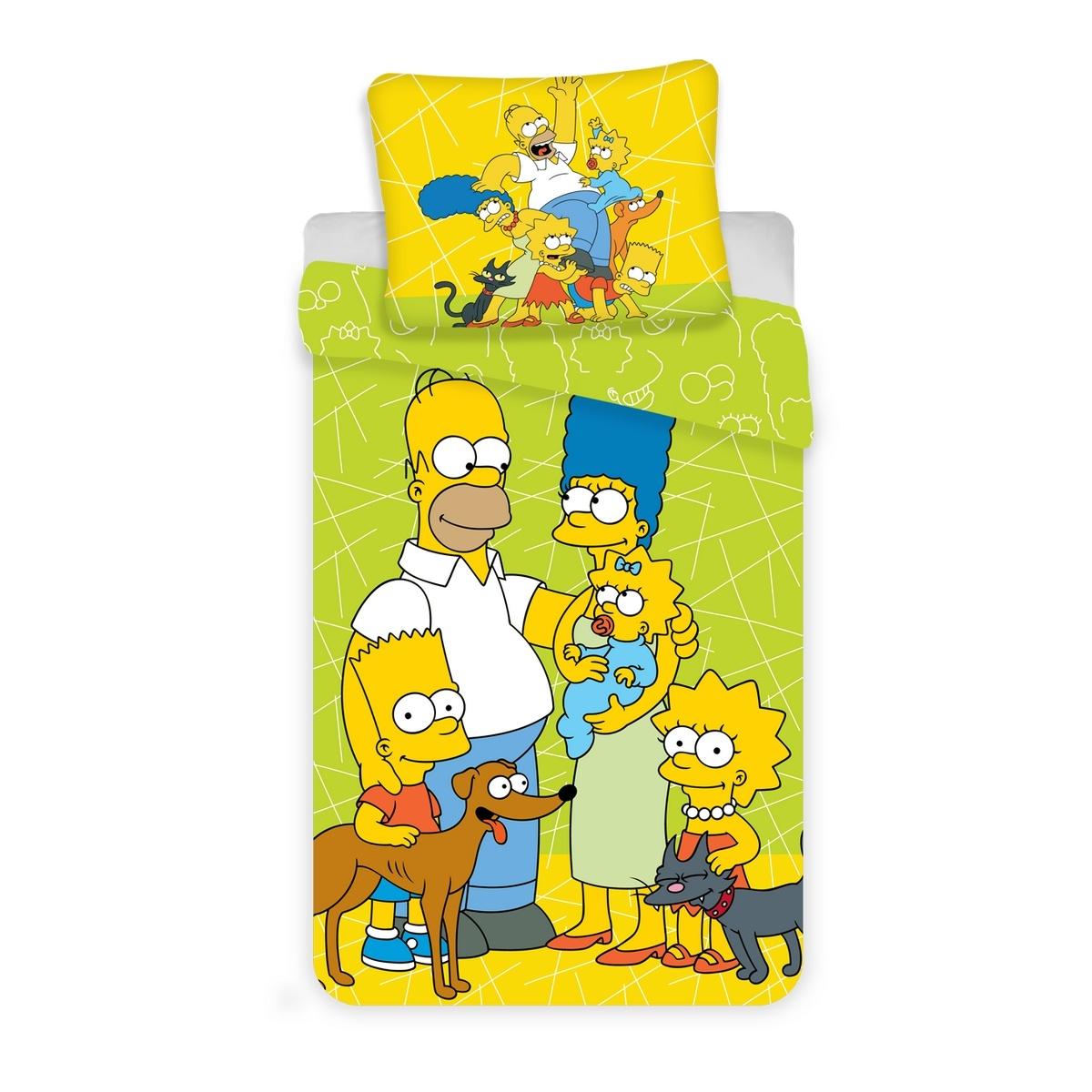 Jerry Fabrics Dětské bavlněné povlečení Simpsons Green 02, 140 x 200 cm, 70 x 90 cm