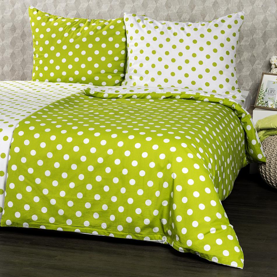 4Home Bavlnené obliečky Zelená bodka, 160 x 200 cm, 2 ks 70 x 80 cm