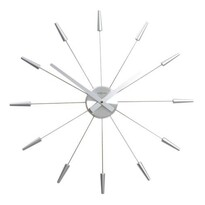 Zegar ścienny Nextime Plug Inn, srebrny, 60 cm