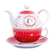 3-częściowy zestaw do herbaty Country, czerwony