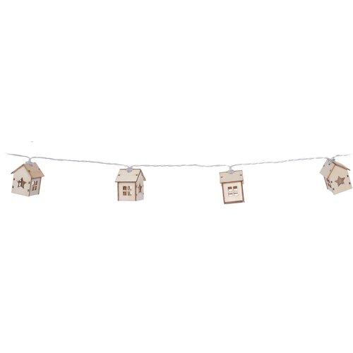 Svetelná reťaz Wooden houses with star, hnedá