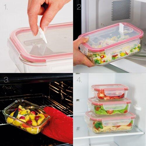 Tescoma FRESHBOX Glass téglalap alakú ételtároló doboz, 0,6 l
