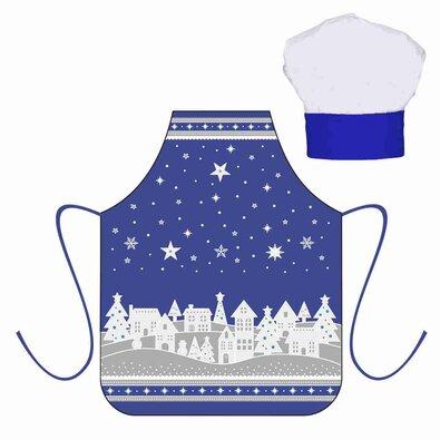 Vánoční dětský set zástěra s kuchyňskou čepicí, modrá
