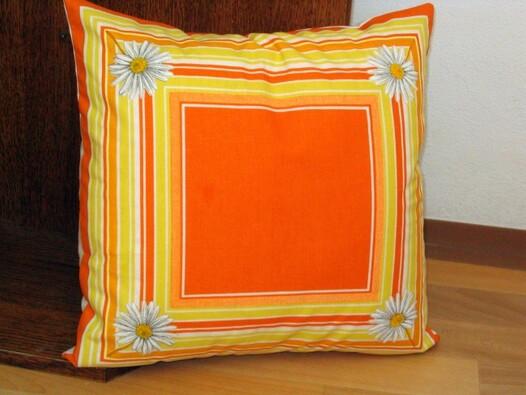 Polštářky Kopretina 2 ks 40 x 40 cm, oranžová, 40 x 40 cm