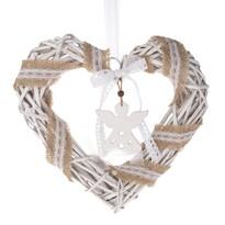 Vánoční závěsné srdce s andělem, 30 x 30 cm, bílá