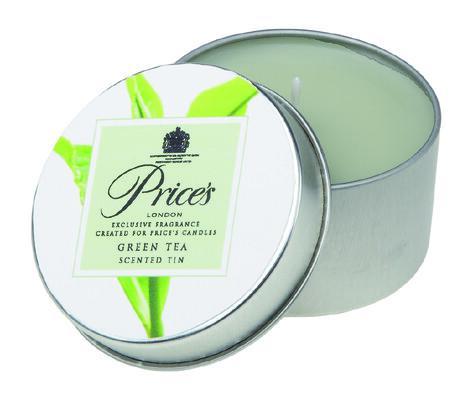 Price´s vonná svíčka v plechu Zelený čaj, 3 ks