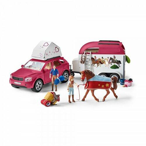 Schleich 42535 Dobrodružné auto s prívesom a koňom