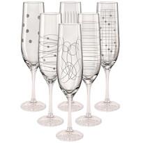 Crystalex 6dílná Sada sklenic na šampaňské Elements Flétna, 190 ml