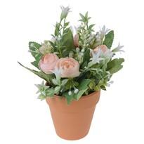 Művirág rózsacsokor virágcserépben narancssárga, 21 cm
