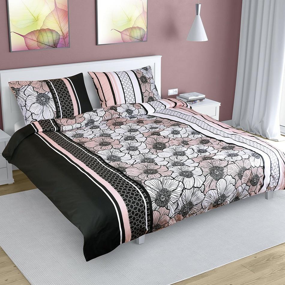 Virág pamut ágynemű, fekete-rózsaszín, 180 x 200 cm, 50 x 70 cm, 180 x 200 cm, 50 x 70 cm