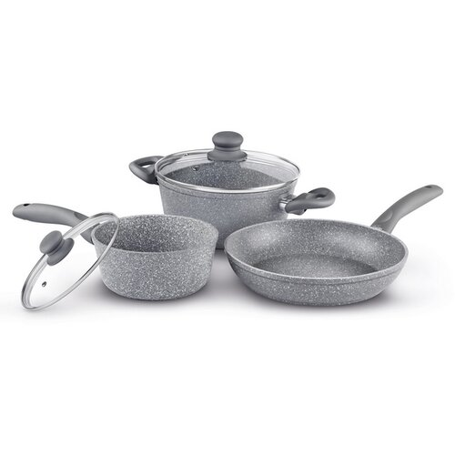 Lamart LT1095 Sada nádobí Stone 5 ks, šedá