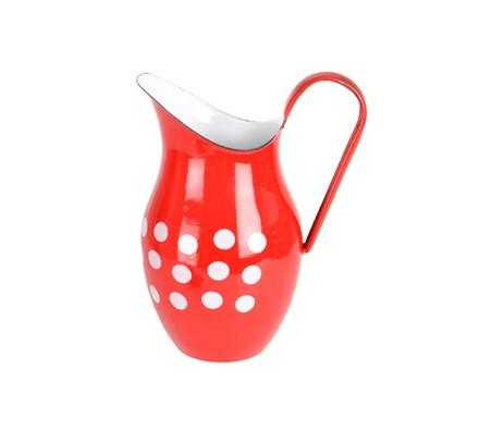 Džbán smalt 2,5l červená s puntíky