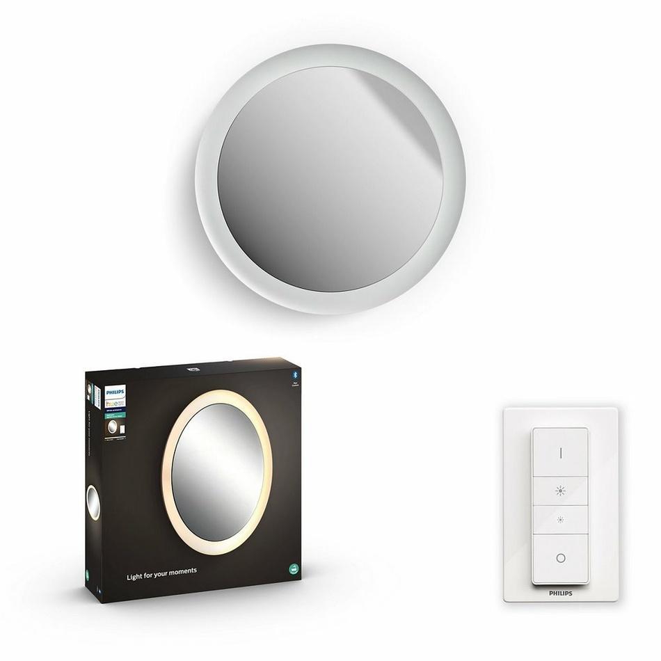 Hue LED White Ambiance Nástěnné koupelnové svítidlo se zrcadlem Philips Adore BT 34186/31/P6 40W 2400lm 2200-6500K IP44 24V, bílé s dálkovým ovladačem a Bluetooth