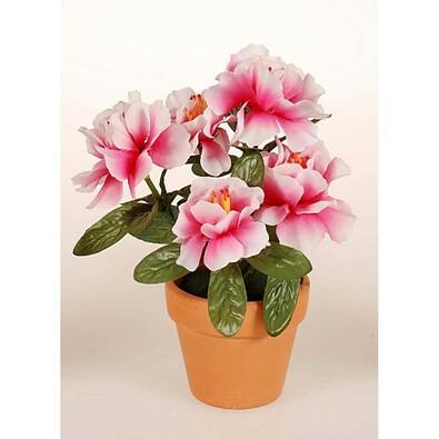 Umělá květina azalka v květináči, růžovo-bílá