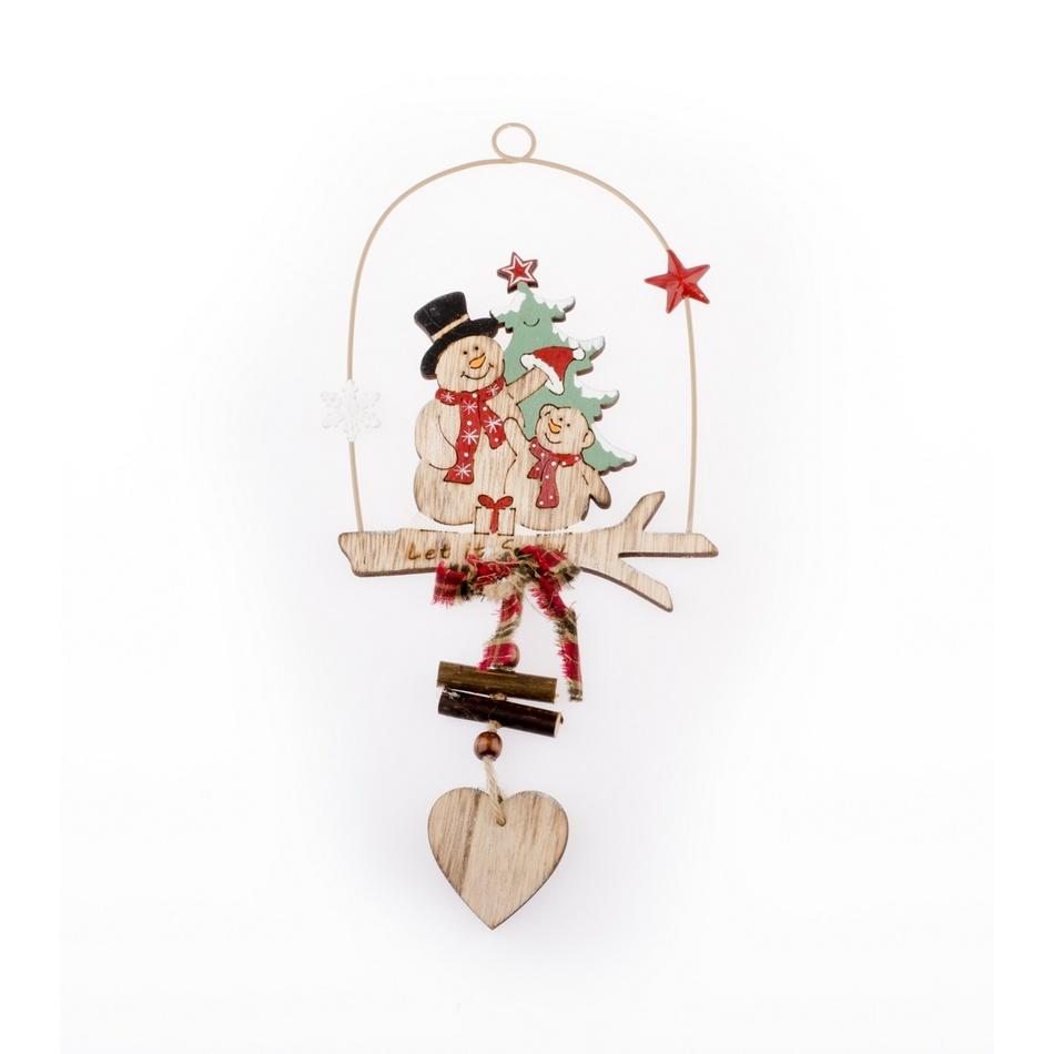 Vánoční závěsná ozdoba Sněhuláci, hnědá