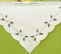Bílý dekorativní ubrus s kvítky, 85x85 cm