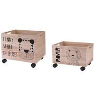 Komplet dekoracyjnych pudełek do przechowywania Hatu Tygrys i lew, 2 szt.