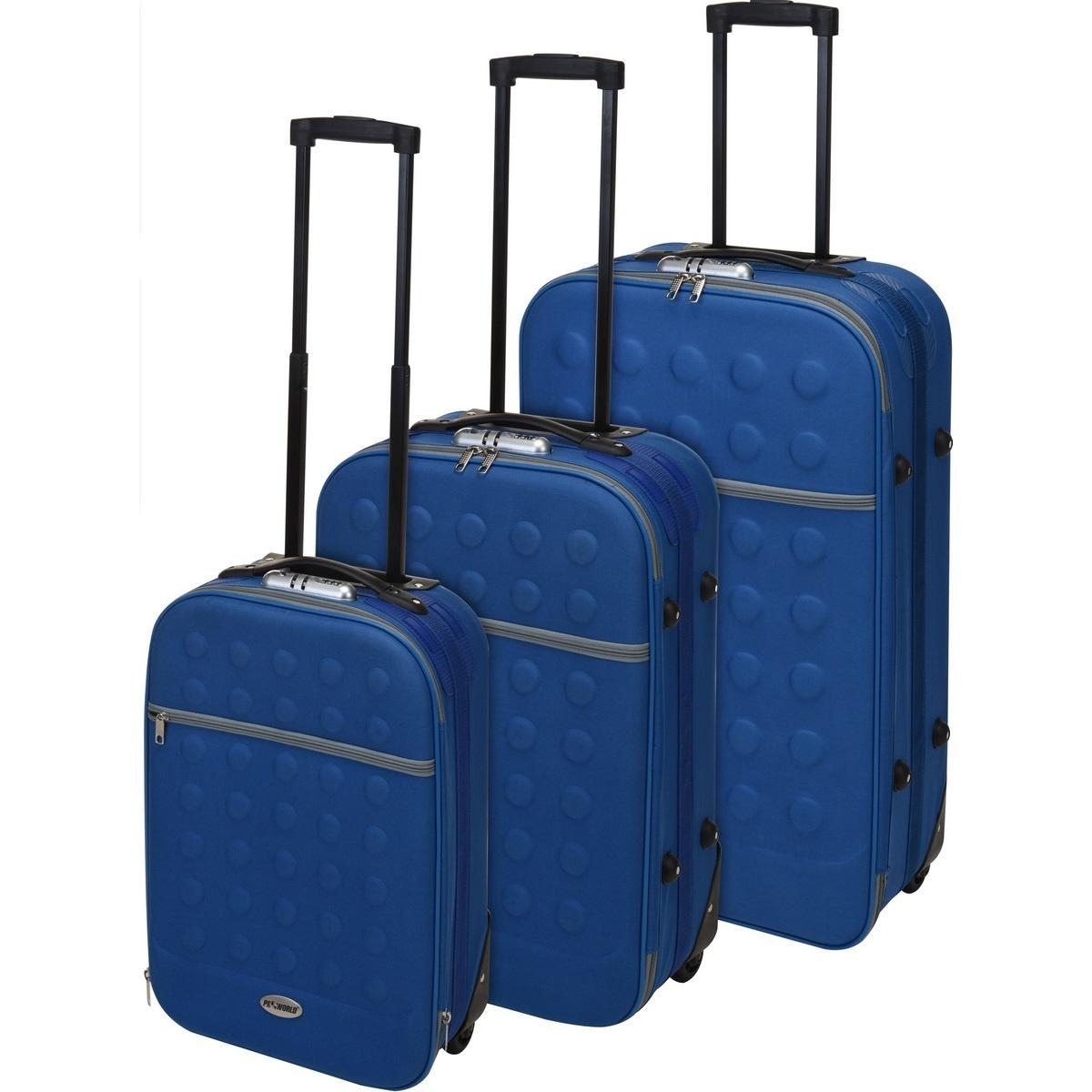 Koopman Sada textilních kufrů na kolečkách 3 ks, modrá