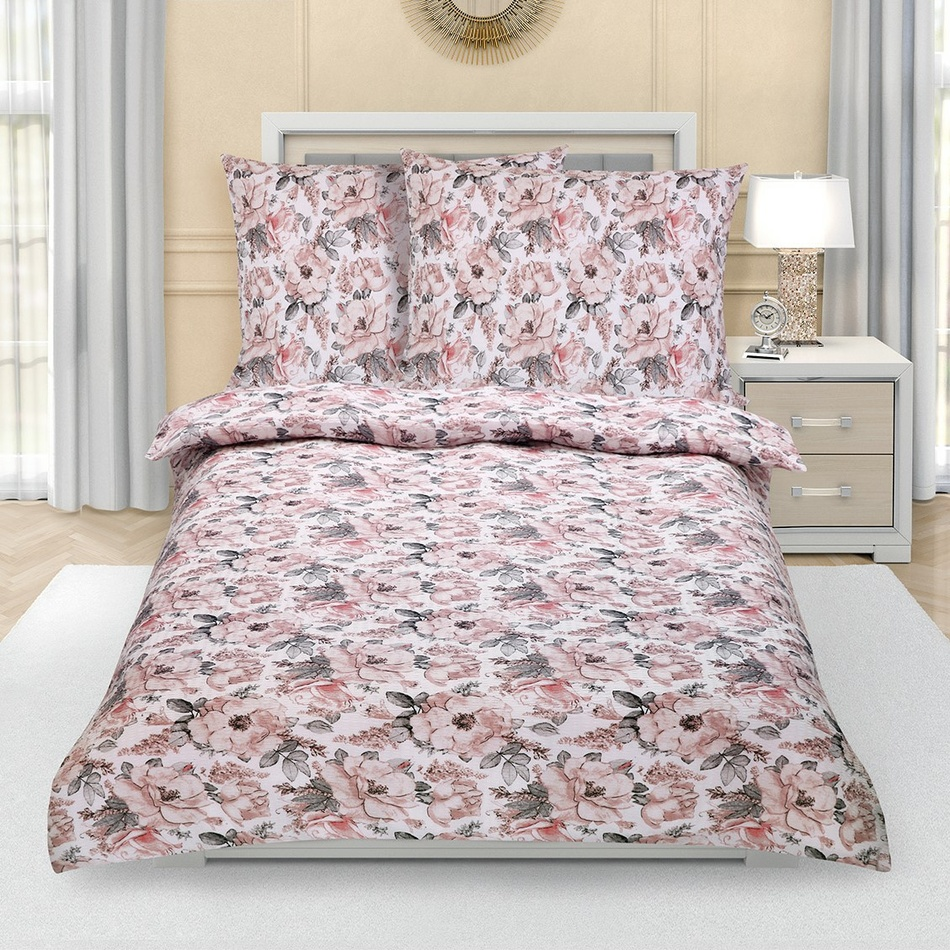 Bellatex Krepové obliečky Sivá ruža, 140 x 200 cm, 70 x 90 cm, 140 x 200 cm, 70 x 90 cm
