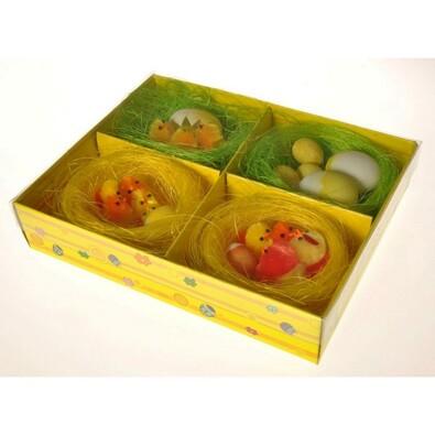 Souprava velikonočních dekorací ve hnízdech