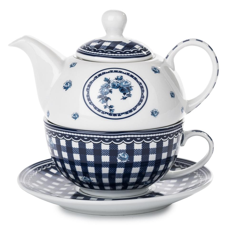 3dílná čajová sada Elegant, modrá, porcelán