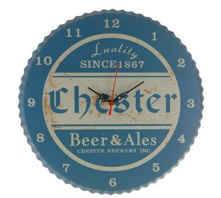 Kovové hodiny Chester, modré, modrá, 34 x 1,5 cm