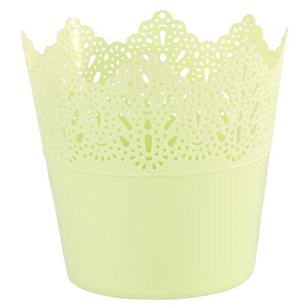 Plastový obal na květináč Krajka 11,5 cm, zelená