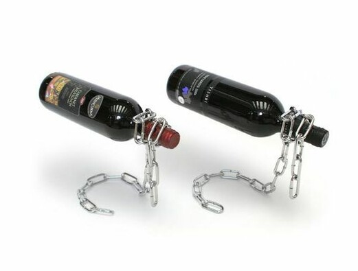 Řetězový držák na víno, stříbrná, 20 x 6 cm