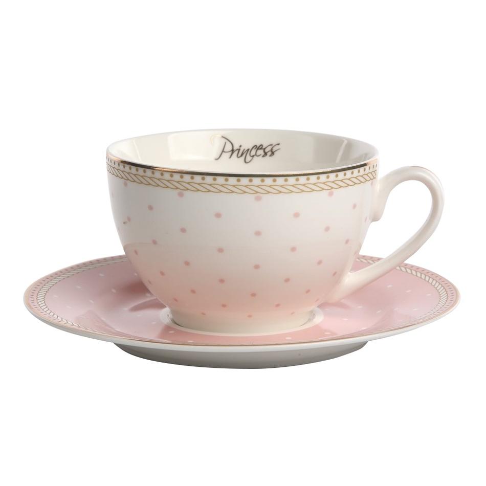 Altom Sada porcelánových šálků s podšálky Prince & Princess 200 ml, 2 ks