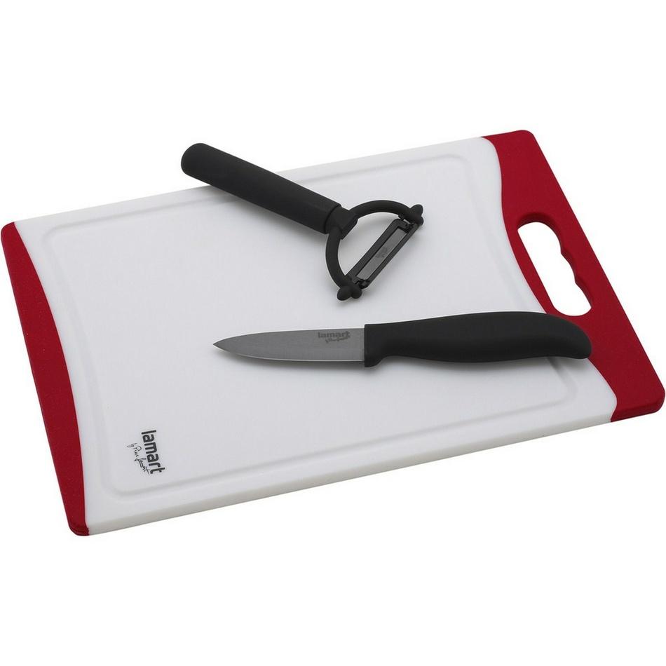 Lamart Sada lopáriky s keramickým nožom a škrabkou,