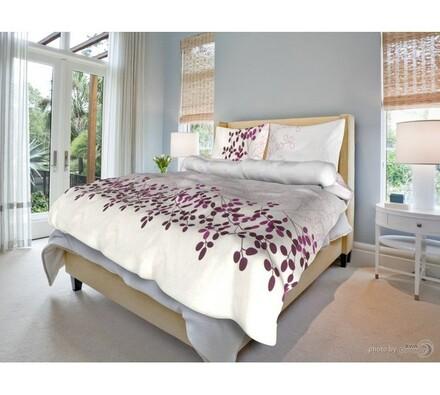 Bavlněné povlečení Květa lila, 140 x 200 cm, 70 x 90 cm