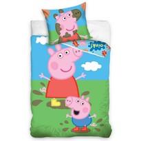 Gyermek pamut ágynemű – Peppa Malac és George, 140 x 200 cm, 70 x 90 cm