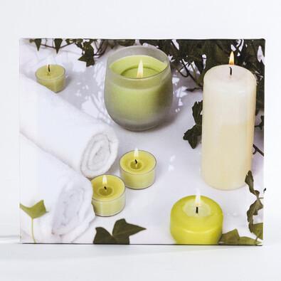 Jednodílný svítící obraz svíčky zelený