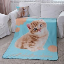 Domarex Koc Puppy Sweet Cat niebieski, 130 x 160 cm