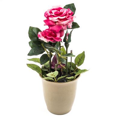 Umělá květina růže v květináči růžová