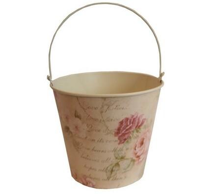 Plechový kbelíček Květy