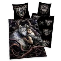 Lenjerie de pat copii, din bumbac, Anne StokesCollection Wolf, 135 x 200 cm, 80 x 80 cm