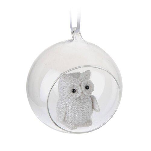 Závěsná skleněná dekorace Thinking Owl, pr. 8,5 cm
