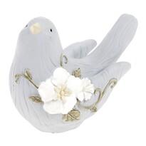 Pasăre decorativă Poly, din poliresină, 13,5x 10 cm, albastru