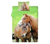 Bavlněné povlečení Koně, 140 x 200 cm, 70 x 90 cm, zelená, 140 x 200 cm, 70 x 90 cm