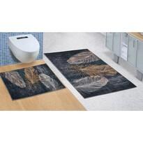 Bellatex Sada koupelnových předložek bez výkroje Pírko 3D, 60 x 100 cm, 60 x 50 cm