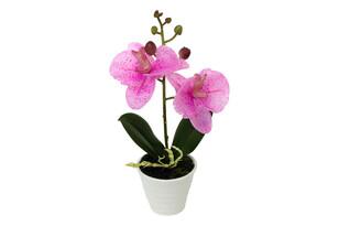 Orchidee artificială în ghiveci din ceramică, roz deschis