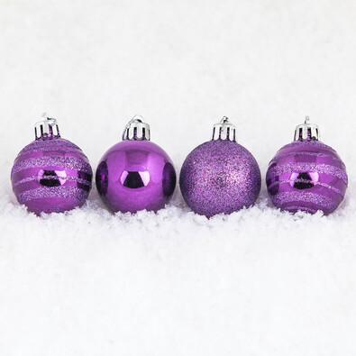 Vánoční koule 15 ks fialová