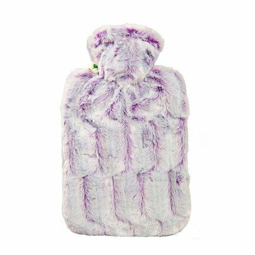 HUGO FROSCH Termofor Classic s obalom z umelej kožušiny fialovo / strieborný