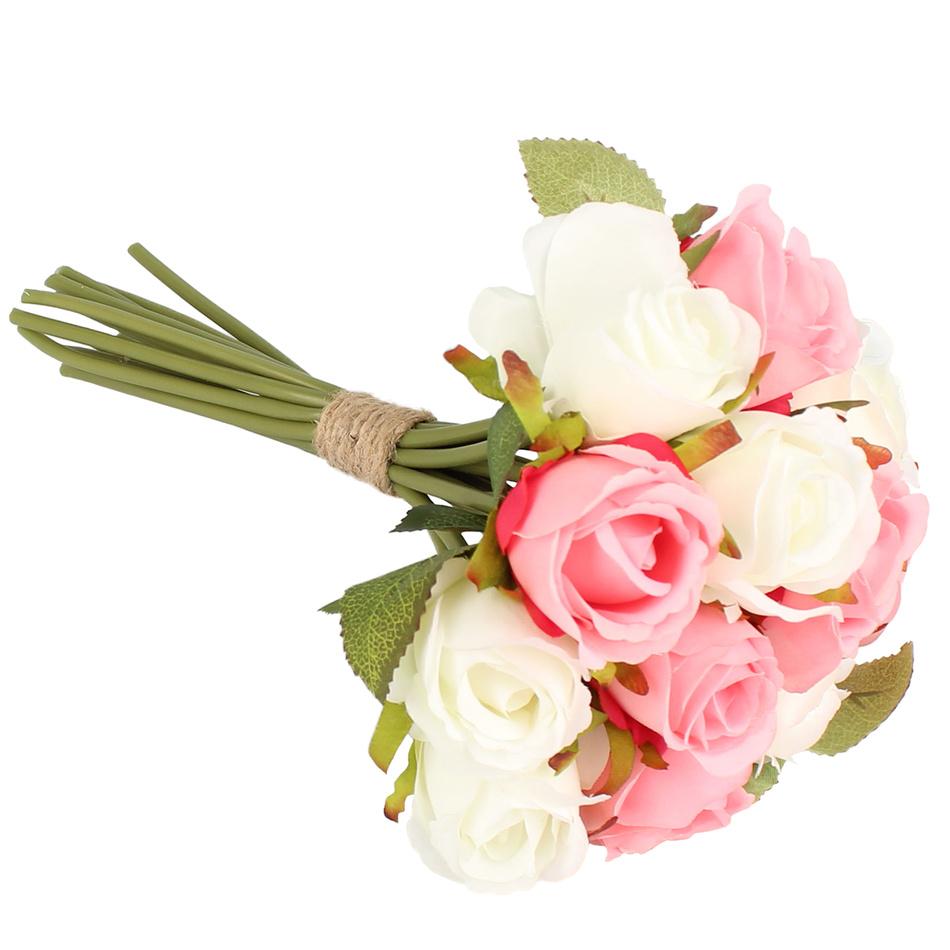 Dakls Umělá kytice růží, růžová + bílá