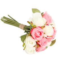 Umelá kytica ruží, ružová + biela