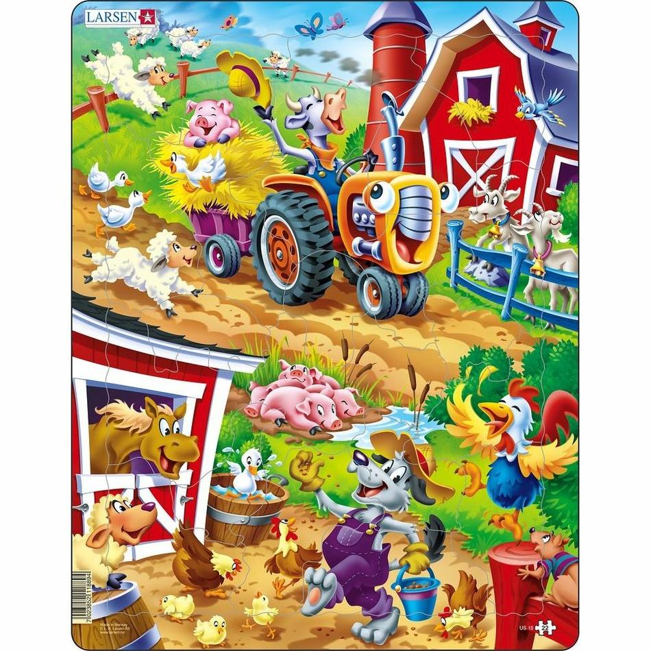 Fotografie Larsen Puzzle Zvířata na dvorku, 22 dílků
